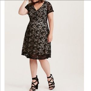 Torrid lace over nude fit & flare dress